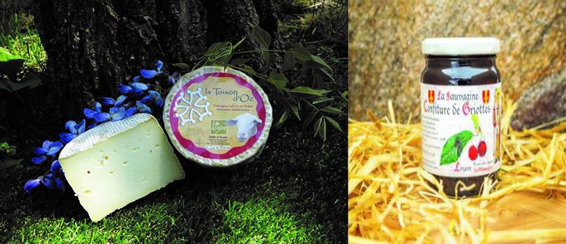 Produits régionaux vendus à l'Hôtel Restaurant Poujol Chez Ricou au Massegros